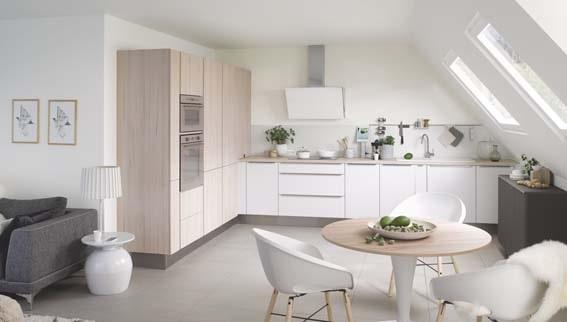 prix cuisine équipée Cuisinella blanche bois clair